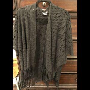BEBE Kimono Black knit Fringe pull over M